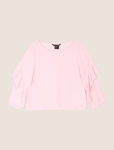 RUFFLE-SLEEVE BOATNECK BLOUSE