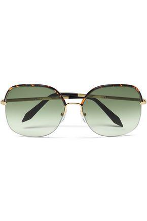 VICTORIA BECKHAM D-frame gold-tone and tortoiseshell acetate sunglasses