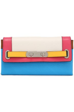 COACH Color-block pebbled-leather continental wallet