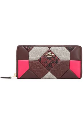 COACH Patchwork smooth and snake-effect leather continental wallet