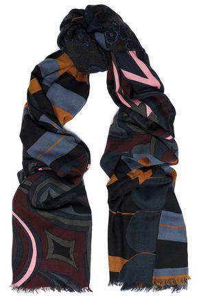COACH Frayed printed wool-twill scarf