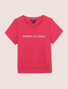 ARMANI EXCHANGE RAISED METALLIC LOGO SWEATSHIRT TOP Fleece Top Woman r