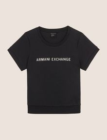 ARMANI EXCHANGE RAISED METALLIC LOGO SWEATSHIRT TOP Fleece Top Woman r