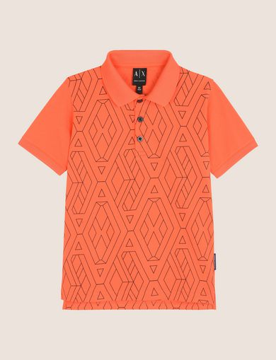 BOYS TESSELLATED LOGO POLO