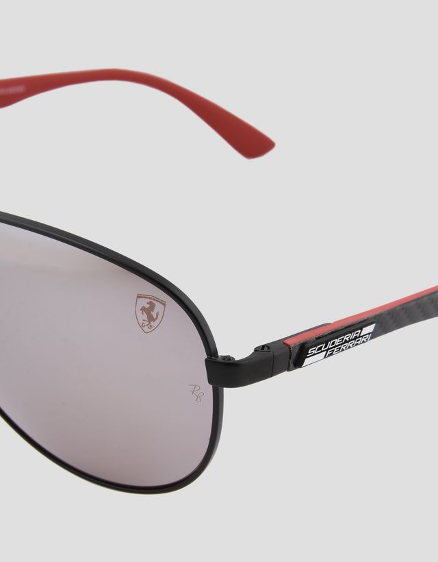 Scuderia Ferrari Online Store - 雷朋法拉利车队系列Aviator Carbon Fibre飞行员款碳纤维亚光黑色太阳眼镜0RB8313M - 太阳镜