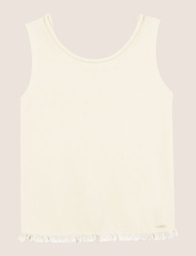 FRAYED HEM SPLIT-BACK SWEATER TANK