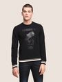 ARMANI EXCHANGE TONAL BULLDOG SWEATSHIRT TOP Fleece Top Man f