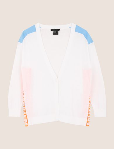 NEON COLORBLOCK LOGO CARDIGAN