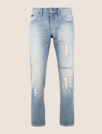 SLIM-FIT DESTROYED MESSAGE JEANS