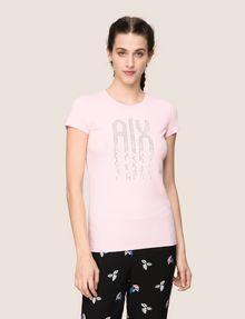 ARMANI EXCHANGE PIXEL RHINESTONE STUD TEE Logo T-shirt Woman f