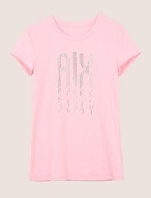 ARMANI EXCHANGE PIXEL RHINESTONE STUD TEE Logo T-shirt Woman r