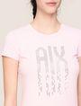 ARMANI EXCHANGE PIXEL RHINESTONE STUD TEE Logo T-shirt Woman b