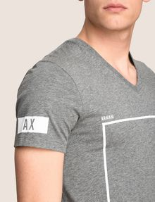 ARMANI EXCHANGE MINIMAL BOXED V-NECK TEE Logo T-shirt Man b