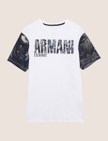 ARMANI EXCHANGE TROPICAL FLORAL SLEEVE CREWNECK Logo T-shirt Man r