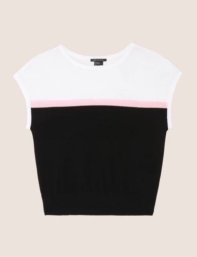 COLORBLOCK MESH YOKE SWEATER