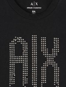 ARMANI EXCHANGE GIRLS RAINBOW STUD TEE Logo T-shirt Woman d