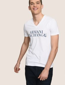 ARMANI EXCHANGE WAVE LOGO V-NECK Logo T-shirt Man a