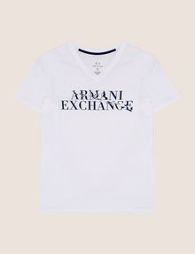 ARMANI EXCHANGE WAVE LOGO V-NECK Logo T-shirt Man r