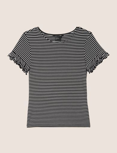 STRIPED RUFFLE-SLEEVE TEE
