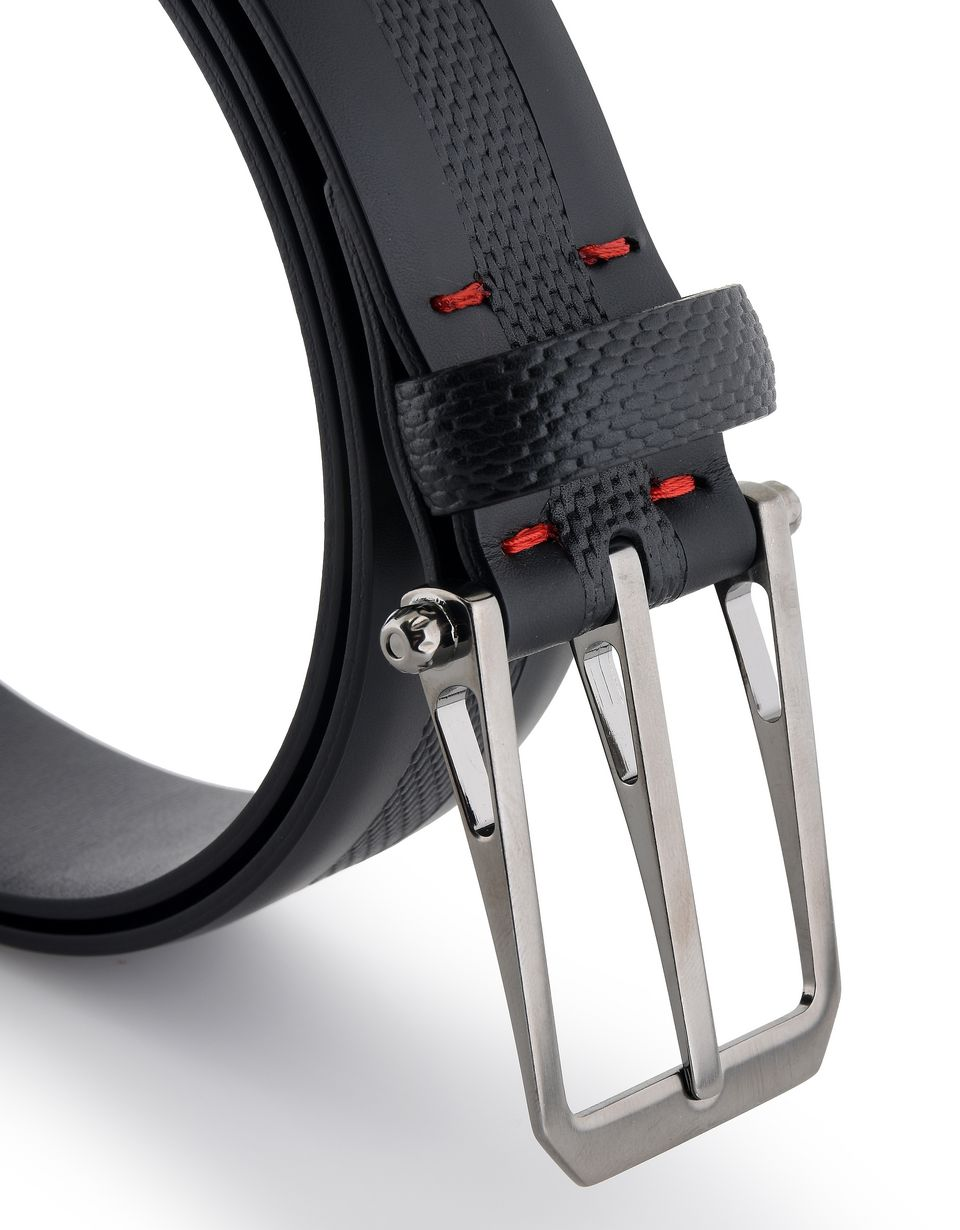 Scuderia Ferrari Online Store - Men's leather and carbon fiber belt - Regular Belts