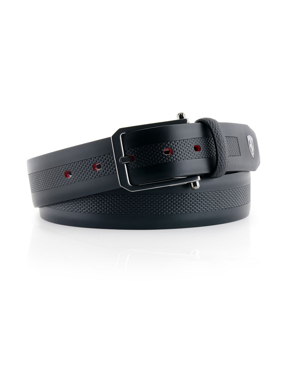 Scuderia Ferrari Online Store - Men's leather and carbon fibre belt - Regular Belts