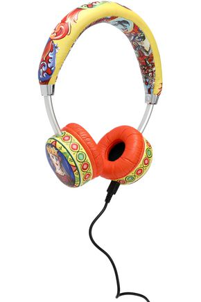 DOLCE & GABBANA Printed leather and silver-tone headphones