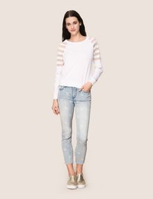 ARMANI EXCHANGE SHEER STRIPE LONG-SLEEVE SWEATER Pullover Woman d