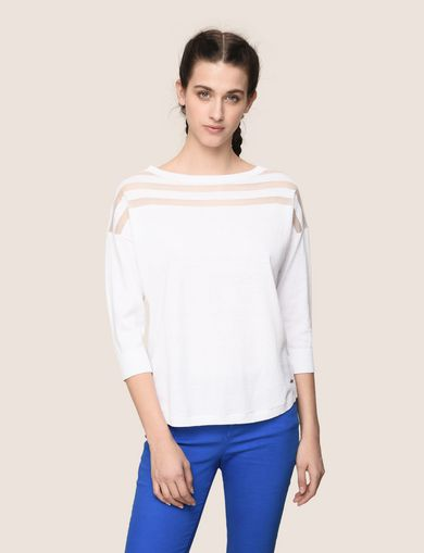 SHEER BACK STRIPED YOKE SWEATER