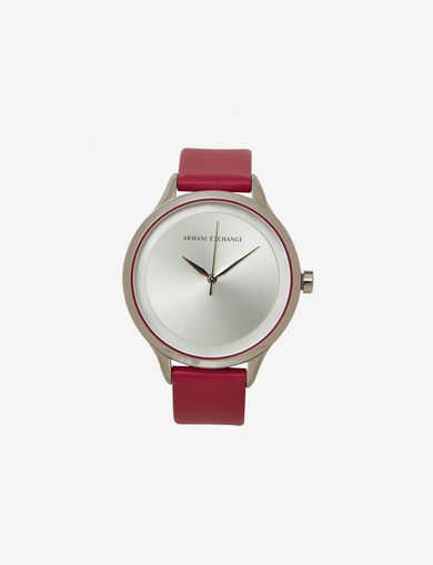 RASPBERRY LEATHER BAND WATCH