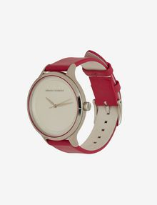 ARMANI EXCHANGE RASPBERRY LEATHER BAND WATCH Watch Woman r