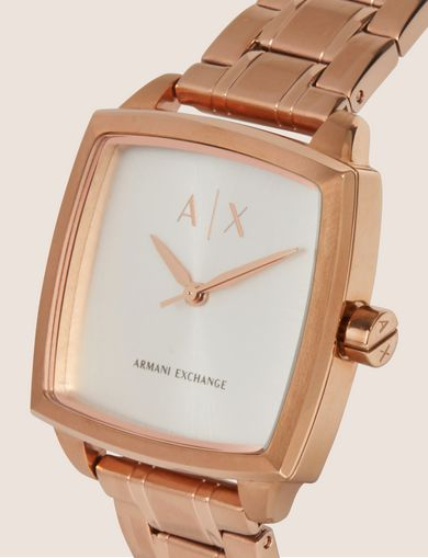 ROSE GOLD-TONED SQUARE BRACELET WATCH