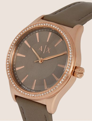 ROUND EMBELLISHED WATCH WITH GREY LEATHER STRAP