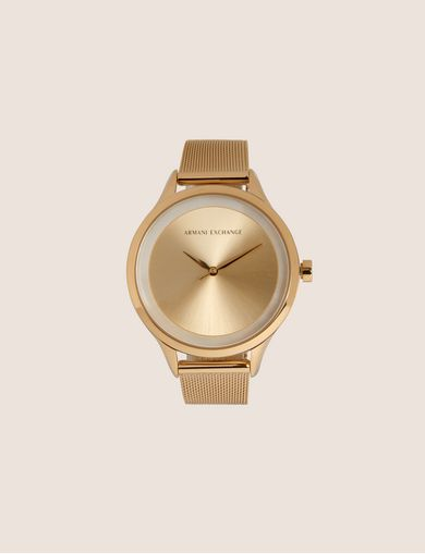 GOLD-TONED MESH BAND WATCH