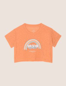 ARMANI EXCHANGE GIRLS MIAMI RAINBOW BURNOUT TEE Logo T-shirt Woman f