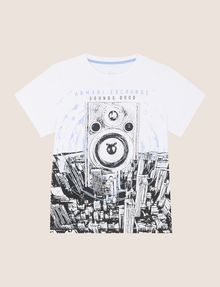 ARMANI EXCHANGE BOYS TURNTABLE SKYLINE TEE Logo T-shirt Man f