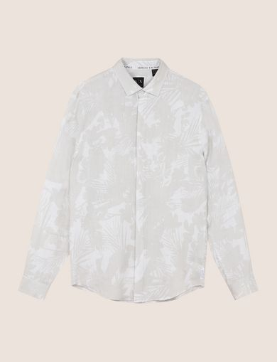 MUTED TROPICAL FLORAL LINEN SHIRT