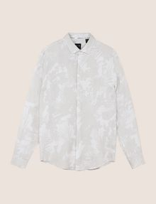 ARMANI EXCHANGE MUTED TROPICAL FLORAL LINEN SHIRT Long-Sleeved Shirt Man r