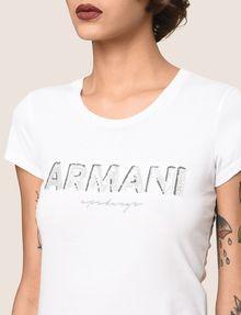 ARMANI EXCHANGE スパンコールロゴ Tシャツ ロゴTシャツ レディース b