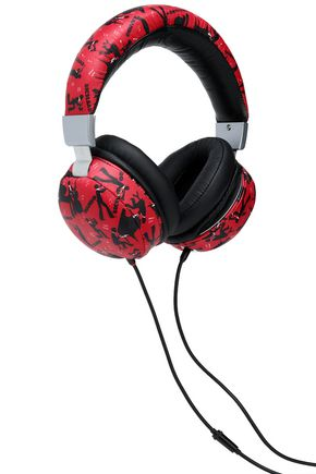 DOLCE & GABBANA Printed textured-leather headphones
