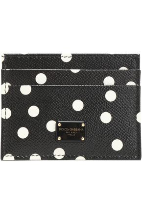 DOLCE & GABBANA Polka-dot textured-leather cardholder