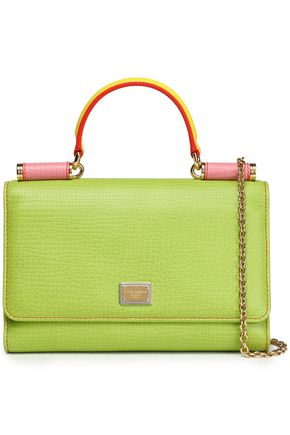 DOLCE & GABBANA Von color-block textured-leather shoulder bag