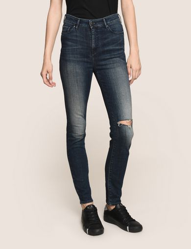 DESTROYED KNEE LIFT-UP SUPER-SKINNY JEAN