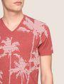 ARMANI EXCHANGE STRIPED PALMS V-NECK Non-logo Tee Man b