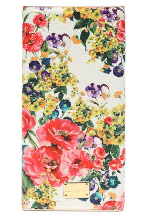 DOLCE & GABBANA Floral-print textured leather phone case