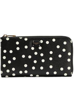 DOLCE & GABBANA Polka-dot textured-leather continental wallet