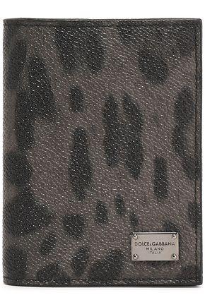 DOLCE & GABBANA Leopard-print textured-leather cardholder