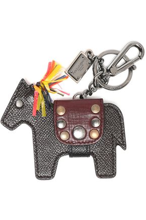 DOLCE & GABBANA Fringed studded textured-leather keychain