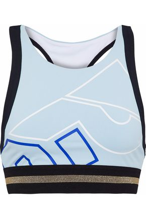 P.E NATION The Volley printed stretch racerback sports bra
