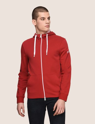 STRIPE-LINED ZIP-UP HOODIE