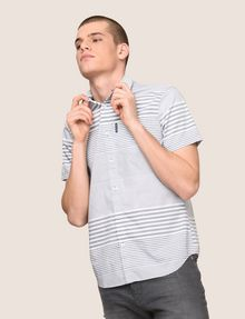 ARMANI EXCHANGE SHORT-SLEEVE VARIEGATED STRIPE REGULAR-FIT SHIRT Striped Shirt Man a